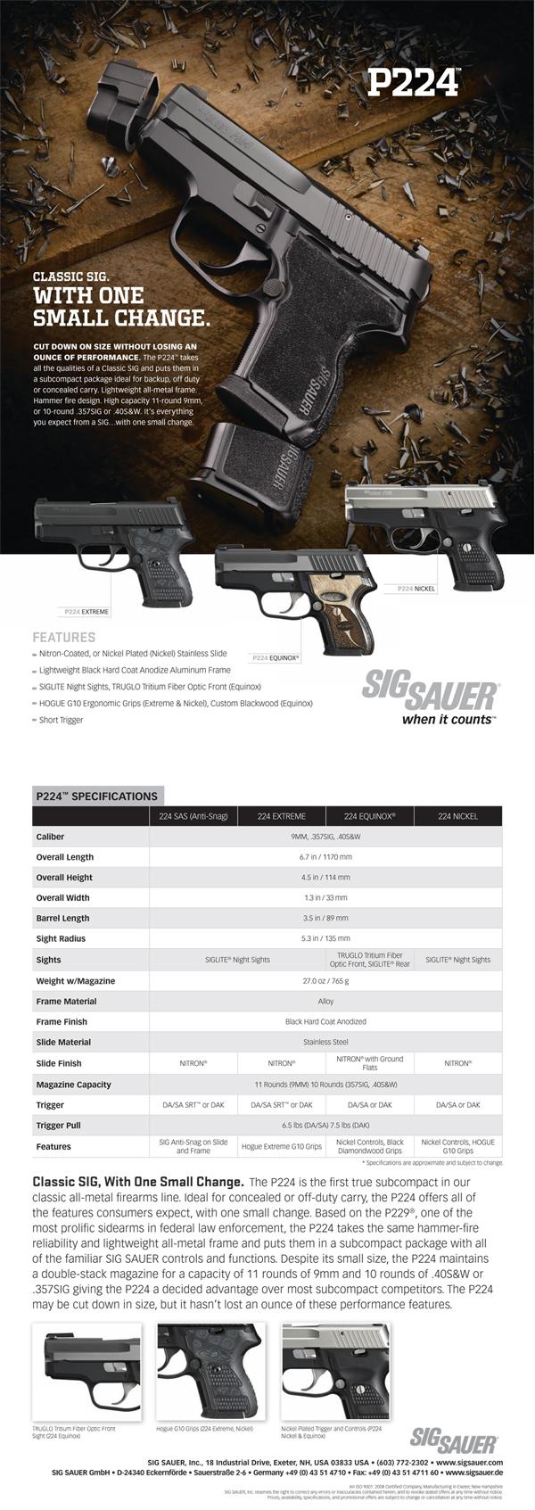 Sig Sauer P224 Sell Sheet